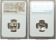 CALABRIA. Tarentum. Ca. 281-240 BC. AR stater or didrachm (21mm, 7.78 gm, 2h). NGC AU 4/5 - 2/5, Fine Style, brushed. Nude youth on horseback right, c...