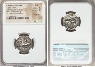 CALABRIA. Tarentum. Ca. 281-240 BC. AR stater or didrachm (21mm, 6.61 gm, 7h). NGC AU 4/5 - 3/5, brushed. Sedamos, Fy- and Gy, magistrates. The Dioscu...