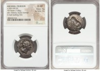 LUCANIA. Thurium. Ca. 350-300 BC. AR stater or didrachm (23mm, 7.88 gm, 7h). NGC Choice XF 4/5 - 4/5. Head of Athena to right, wearing crested Attic h...