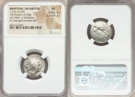 BRUTTIUM. The Brettii. Ca. 216-214 BC. AR drachm (19mm, 4.75 gm, 4h). NGC XF 4/5 - 3/5. Second Punic War issue. Diademed and draped bust of Nike right...
