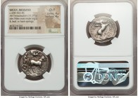 SICILY. Messana. Ca. 438-426 BC. AR tetradrachm (26mm, 17.37 gm, 3h). NGC Choice Fine 4/5 - 4/5. Seated charioteer, holding reins with both hands, dri...