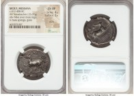 SICILY. Messana. Ca. 412-408 BC. AR tetradrachm (28mm, 15.67 gm, 4h). NGC Choice VF 4/5 - 3/5, scuffs. The nymph Messana, holding reins in right hand ...