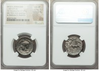 SICILY. Syracuse. Deinomenid Tyranny. Ca. 480-475 BC. AR tetradrachm (24mm, 17.09 gm, 11h). NGC Choice VF 5/5 - 4/5. Male charioteer, wearing a long c...