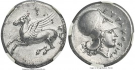 SICILY. Syracuse. Third Democracy. Ca. 344-317 BC. AR stater (21mm, 8.21 gm, 3h). NGC XF 5/5 - 3/5, horn silver. Time of Timoleon. Ca. 344-339/8 BC. P...