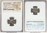 SICILY. Syracuse. Gelon, son of Hieron II (ca. 216 BC). AR tetralitron (17mm, 3.27 gm, 3h). NGC XF 5/5 - 3/5. Diademed head of Gelon II (son and co-re...