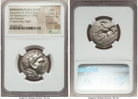 MACEDONIAN KINGDOM. Alexander III the Great (336-323 BC). AR tetradrachm (25mm, 17.09 gm, 8h). NGC AU 5/5 - 4/5, overstruck. Early posthumous issue of...