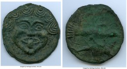 SCYTHIA. Olbia. Ca. 437-410 BC. Cast aes leve (69mm, 111.16 gm, 1h). XF. Facing gorgoneion with full cheeks, triangular chin and protruding tongue und...