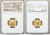 THRACIAN DYNASTS. Coson (ca. after 54 BC). AV stater (19mm, 8.66 gm, 12h). NGC MS 5/5 - 4/5. Ca. 44-42 BC. Roman consul (L. Junius Brutus) walking lef...