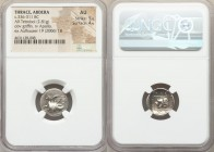 THRACE. Abdera. Ca. 411-385 BC. AR tetrobol (16mm, 2.81 gm, 3h). NGC AU 5/5 - 4/5. Griffin reclining left / MOΛ-ΠA-ΓO-PHΣ, laureate head of Apollo wit...