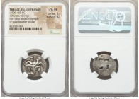 THRACIAN ISLANDS. Thasos. Ca. 525-450 BC. AR stater (22mm, 8.93 gm). NGC Choice VF 5/5 - 4/5. Thasian standard. Nude ithyphallic satyr running right, ...