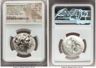 THRACIAN KINGDOM. Lysimachus (305-281 BC). AR tetradrachm (30mm, 17.10 gm, 10h). NGC AU 5/5 - 2/5, brushed. Lampsacus, 297/6-281 BC. Diademed head of ...