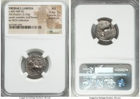 THESSALY. Larissa. Ca. 460-400 BC. AR drachm (18mm, 5.29 gm, 11h). NGC AU 5/5 - 3/5, Fine Style. Youth (Thessalos), nude save for chlamys, standing le...