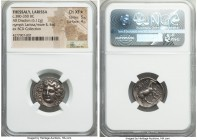 THESSALY. Larissa. Ca. 380-350 BC. AR drachm (21mm, 6.12 gm, 11h). NGC Choice XF S 5/5 - 4/5. Head of nymph Larissa facing slightly left, hair bound w...