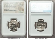 LOCRIS. Locris Opuntia. Ca. 369-338 BC. AR stater (23mm, 12.12 gm, 3h). NGC VF 5/5 - 3/5. Head of Demeter left, wreathed with grain ears, wearing trip...