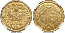 Pedro II gold 4000 Reis 1700-(R) AU55 NGC, Rio de Janeiro mint, KM98, Russo-32A. Struck with the features so characteristic for the type, with wide ri...