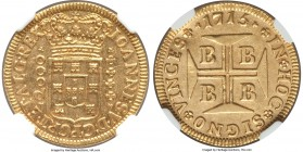 João V gold 2000 Reis 1715-B AU58 NGC, Bahia mint, KM105. A lustrous example with a crisp strike and exceptionally little wear. From the Grand Castell...