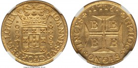 João V gold 4000 Reis 1716-B UNC Details (Bent) NGC, Bahia mint, KM106, Fr-30, LMB-O66. A titillating golden offering with luminescent fields embracin...