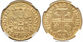 João V gold 4000 Reis 1721-R AU53 NGC, Rio de Janeiro mint, KM102, Russo-173, Gomes-101.22. Bold, even for this normally well-struck issue. The device...