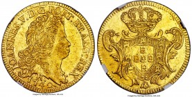 João V gold 6400 Reis 1742-R AU50 NGC, Rio de Janeiro mint, KM149, Russo-217. A satin-textured example with moderate handling to the fields yet only s...