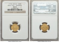 "Jose I gold 1000 Reis 1774-(L) AU55 NGC, KM162.2. Reduced size, ""Josephus Dominus"" type. Presently standing at the top of the NGC census, this tiny go..."