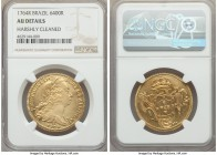 Jose I gold 6400 Reis 1764-R AU Details (Harshly Cleaned) NGC, Rio de Janeiro mint, KM172.2. A more affordable representative of this always sought-af...