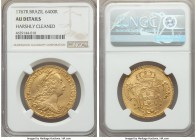 Jose I gold 6400 Reis 1767-R AU Details (Harshly Cleaned) NGC, Rio de Janeiro mint, KM172.2. Evincing signs of clashed dies between 9 and 12 o'clock o...