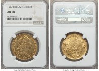 Jose I gold 6400 Reis 1768-R AU58 NGC, Rio de Janeiro mint, KM172.2. Very well-engraved with little of the usual striking weakness though in no way la...