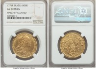 Jose I gold 6400 Reis 1771-R AU Details (Harshly Cleaned) NGC, Rio de Janeiro mint, KM172.2. Pleasant to find without any signs of mounting, satiny lu...