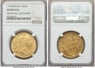 Jose I gold 6400 Reis 1774-R AU Details (Rim Filing, Scratches) NGC, Rio de Janeiro mint, KM172.2. A strong portrait and bold strike overall, with not...