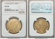 Jose I gold 6400 Reis 1776-B AU58 NGC, Bahia mint, KM172.1. A generally well-preserved example of this popular date, the fields evincing only light ha...
