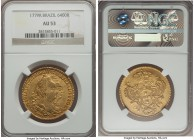 Maria I & Pedro III gold 6400 Reis 1779-R AU53 NGC, Rio de Janeiro mint, KM199.2. A type that always comes highly sought-after, particularly when foun...