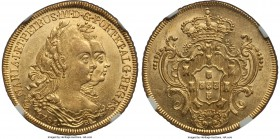 Maria I & Pedro III gold 6400 Reis 1781-R MS62 NGC, Rio de Janeiro mint, KM199.2. Fully brilliant and a laudable example of the type.  HID99912102018