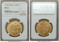 Maria I & Pedro III gold 6400 Reis 1782-R MS61 NGC, Rio de Janeiro mint, KM199.2. A lovely sunny example with a captivating degree of detail. The surf...