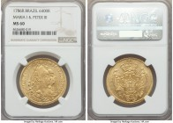 Maria I & Pedro III gold 6400 Reis 1786-R MS60 NGC, Rio de Janeiro mint, KM199.2. Fully mint state, without any wear on the devices, an an even distri...
