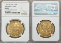 Maria I & Pedro III gold 6400 Reis 1786-R AU58 NGC, Rio de Janeiro mint, KM199.2. Plentiful luster, pinpoint detail in the legends, and overall little...