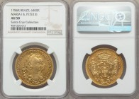 Maria I & Pedro III gold 6400 Reis 1786-R AU58 NGC, Rio de Janeiro mint, KM199.2. Edging quite nearly on Mint State with glassy peripheries and well-d...