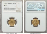 Maria I gold 1000 Reis 1787-(L) MS61 NGC, Lisbon mint, KM223. Noticeably elusive in Mint State grades, a rosaceous tone developing in the margins of t...