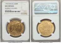Maria I gold 6400 Reis 1793-R UNC Details (Harshly Cleaned) NGC, Rio de Janeiro mint, KM226.1. Rather blemish-free on the reverse, with only a few lig...