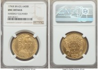 Maria I gold 6400 Reis 1796-R UNC Details (Harshly Cleaned) NGC, Rio de Janeiro mint, KM226.1. A light scattering of hairlines, but otherwise quite pr...