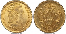 Maria I gold 6400 Reis 1799-R MS62 NGC, Rio de Janeiro mint, KM226.1, Russo-537. An attractive coin with substantial mint luster and the expected hand...
