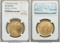 "Maria I gold 6400 Reis 1799-R UNC Details (Harshly Cleaned) NGC, Rio de Janeiro mint, KM226.1. Surprisingly lightly cleaned for the ""harsh"" designatio..."