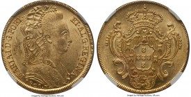 Maria I gold 6400 Reis 1801-R MS63 NGC, Rio de Janeiro mint, KM226.1, Russo-539. Fully brilliant with minor handling in the left obverse field. Scarce...