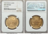 Maria I gold 6400 Reis 1801-R UNC Details (Cleaned) NGC, Rio de Janeiro mint, KM226.1. Beautifully detailed with hardly an ounce of detectable wear. F...