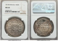 João Prince Regent 960 Reis 1814-B MS64 NGC, Bahia mint, KM307.1. Very well struck with a stout luster and impressive iridescence.  HID99912102018