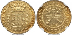 João Prince Regent gold 4000 Reis 1806-(B) MS61 NGC, Bahia mint, KM235.1. Struck on an even planchet, with light signs of handling, yet nothing signif...
