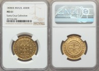 João Prince Regent gold 4000 Reis 1808-(R) MS61 NGC, Rio de Janeiro mint, KM235.2. Softly golden and tone-free, the devices all well-formed with just ...