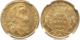 João Prince Regent gold 6400 Reis 1808-R MS61 NGC, Rio de Janeiro mint, KM236.1. A charming representation showing light chatter in the fields, but wi...