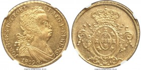 João Prince Regent gold 6400 Reis 1809-R MS61 NGC, Rio de Janeiro mint, KM236.1, LMB-O559. Well-struck, with somewhat glassy luster and only light fri...