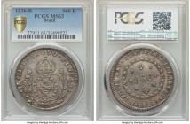 Pedro I 960 Reis 1826-R MS63 PCGS, Rio de Janeiro mint, KM368.1. One of the highest recorded grades for the type at PCGS, and a type which is notoriou...