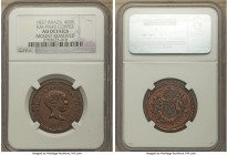 Pedro II copper Pattern 400 Reis 1837 AU Details (Mount Removed) NGC, KM-Pn49. A rather unusual issue, which though designated as a pattern in the SCW...